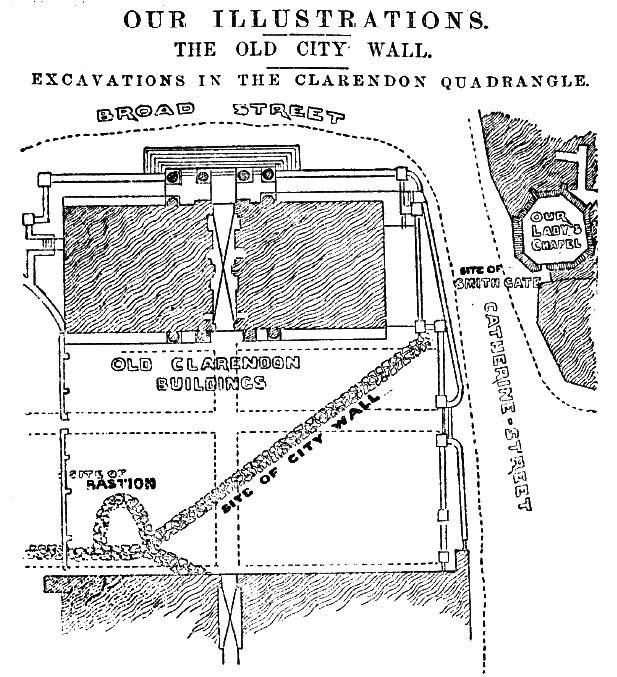 Route of wall behind the Clarendon Building