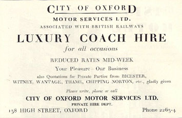 City of Oxford Motor services ad