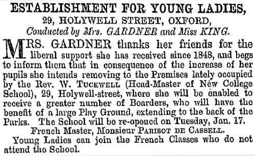 Advertisement for school on 7 January 1865