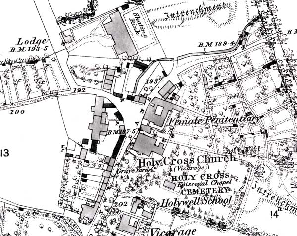Area around Holywell Manor in 1900