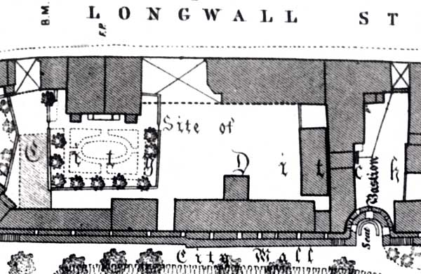 Sacher Building site on 1876 OS map