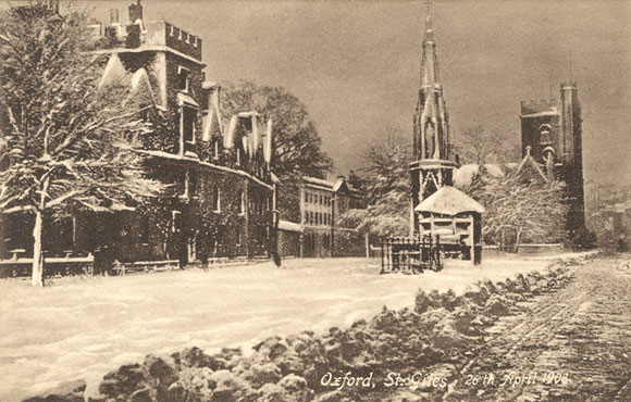 St Giles in the snow in 1908