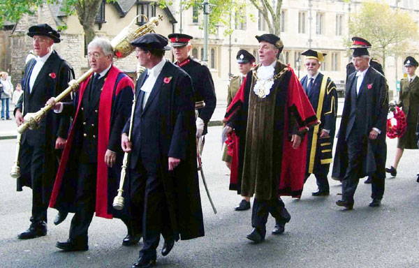 Lord Mayor followed by Chancellors of both universities