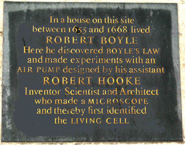 Boyle and Hooke inscription
