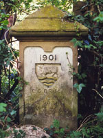 Boundary stone at junction of Cuckoo Lane and Pullens Lane