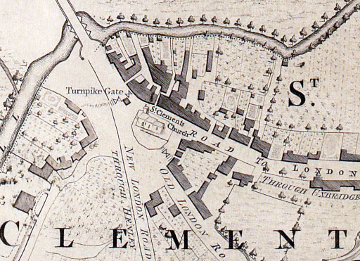 Map showing turnpike gates in St Clements