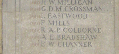 Memorial naming Bradshaw in Worcester College Chapel