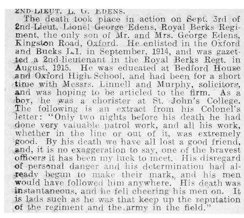 Obituary of Edens in Oxford Chronicle