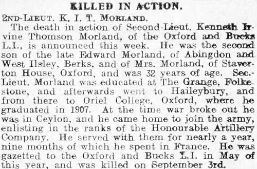 Obituary of Kenneth Morland